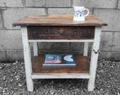 Rustic French Side Table Carpenters Work Bench