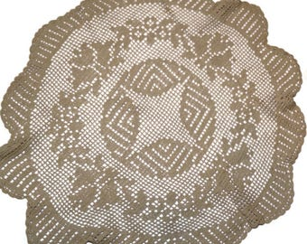 """Vintage Crocheted Doily, or Small (20-21"""") Tablecloth,Round Ecru Crochet Centrepiece or TableTopper,Vintage Wedding Linens,"""