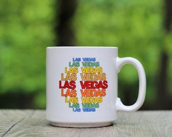 Vintage Las Vegas Mug / Las Vegas Rainbow Mug / Las Vegas Souvenir Mug / Las Vegas Gift / Las Vegas Housewarming / Rainbow Las Vegas Mug
