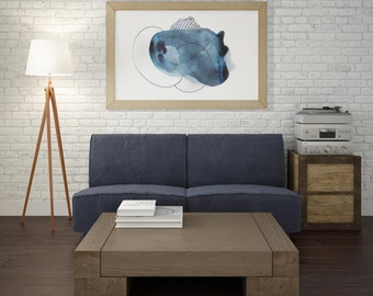 Minimalist Blue Art Print. Large Minimalist Art Print. Abstract Minimalist Blue Art Print. Colorful Minimalist Art Print.