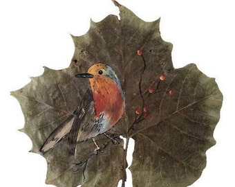 Print Red robin bird painted on real maple leaf print, bird lover, robin bird, robin bird painting, painted leaves, bird illustration, bird