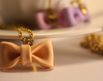bow necklace handmade