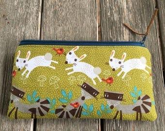 Handmade bunny rabbit pencil pouch