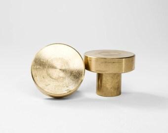 Wilson Brass Knob - Cabinet Pulls - Modern Brass Drawer Knobs - Simple Minimalist Mid Century - Kitchen Bath Dresser - American Made