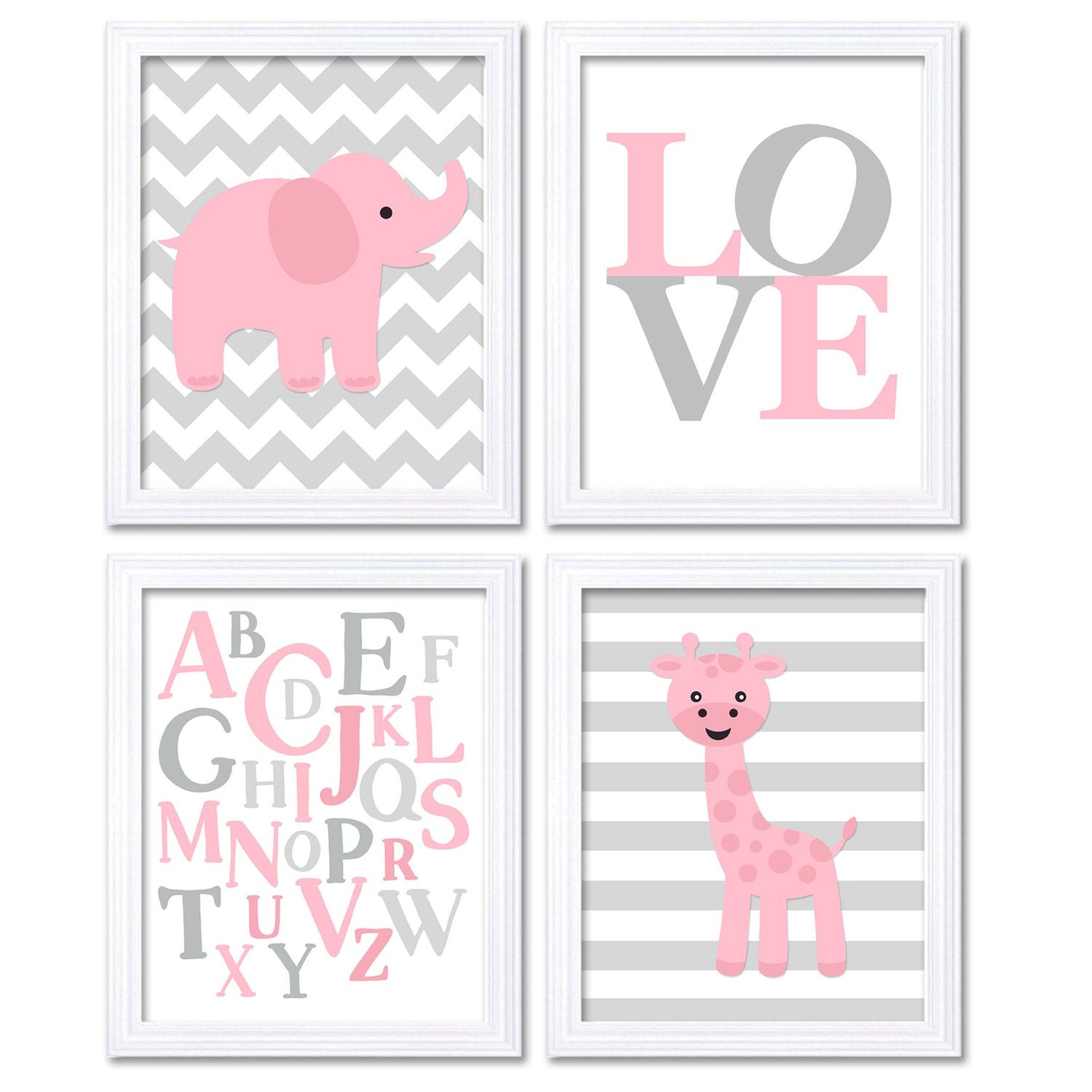 Elephant Nursery Art Giraffe Wall Decor Alphabet ABC Set of 4 Prints LOVE Baby Pink Grey Child Kids