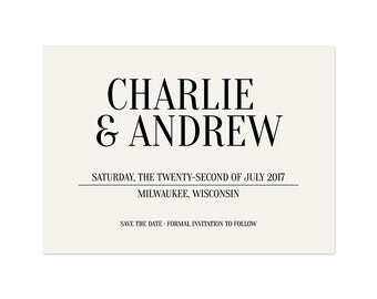Neutral save the date, black and cream, (DP206)