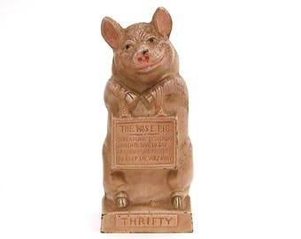 Cast Iron Bank Pig by JMR, Thrifty the Wise Pig Still Bank, Circa 1930 Cast Iron Piggy Bank, Vintage Iron Bank, Keep the Wolf Away Coin Bank