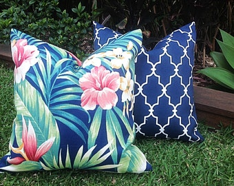 Outdoor Cushions, Blue Tropical Outdoor Cushions, Hibiscus Blue Geometric, Tropical Pillow Covers, Cushion Covers,  Tropical Pillows