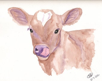 "Cow, Calf Painting Print, ""Like No Udder"""