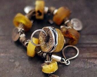SALE 10 - 20 % OFF use the code • Baltic amber bracelet • 925 sterling silver • linen  charm bracelet • Swarovski crystal •