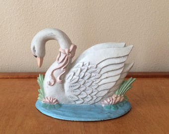 White Swan Doorstop - Painted Cast Iron