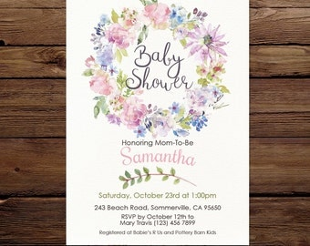 Pastel Baby Shower Invitation, watercolor floral wreath Invitation, Gender neutral, Printable Invitation, Digital invite, Baby shower invite