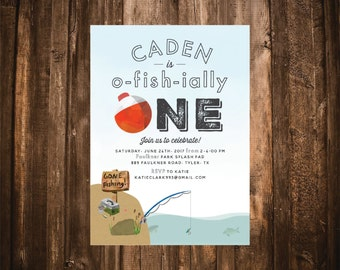 O-FISH-IALLY ONE Fishing First Birthday Invitation; Printable or set of 10
