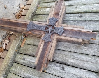 """COWBOY Country Western CROSS - Large Wooden Rustic Cross   33"""" tall, wood tones"""