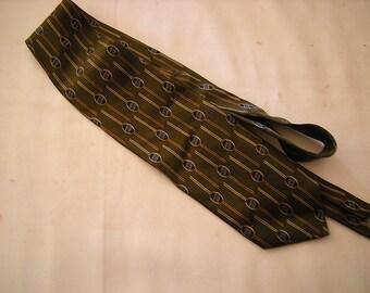 vintage tie-dark gree-ruffini tie-1960's style-retro night out- necktie-hipster-100% silk-retro-