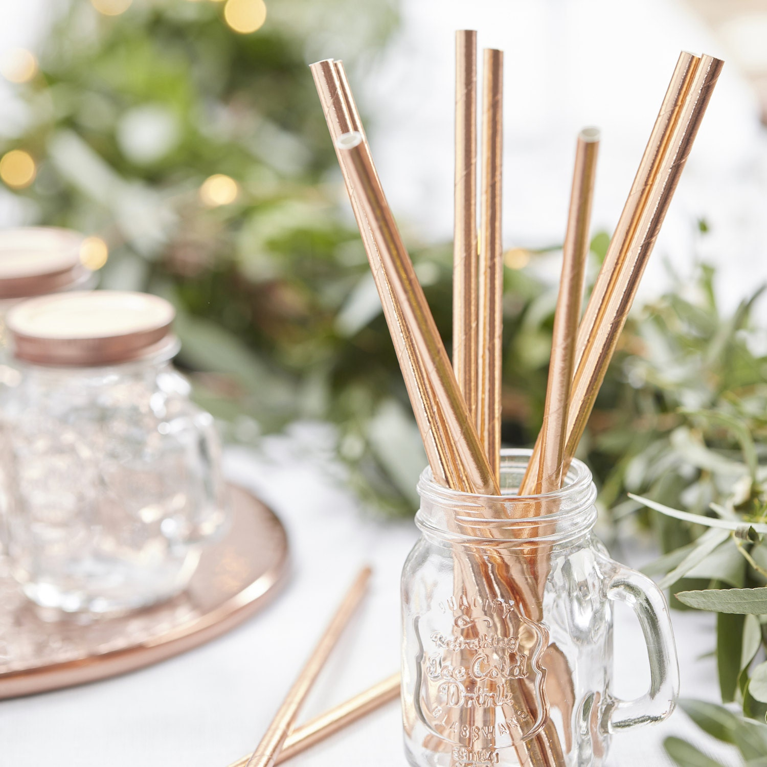 Rose Gold Paper Straws, Beautiful Gold Straws for Wedding or Birthday Celebration, Rose Gold Straws, Gold, Paper Straws, Wedding Straws