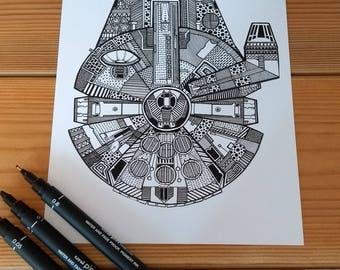 Millennium Falcon print (A5)