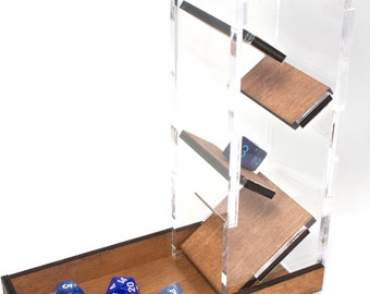 Dice Tower~ Clear Acrylic & Wood Great for Gamers!