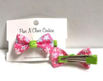 Pink & Green floral Hair clip