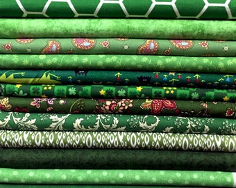"""10x FQ's Assorted GREEN Quilting Fabric - 100% Cotton - 18"""" x 22"""" inches - FAT Quarter Bundle"""