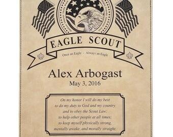 Eagle Scout Leatherette Plaque - Black on Tan