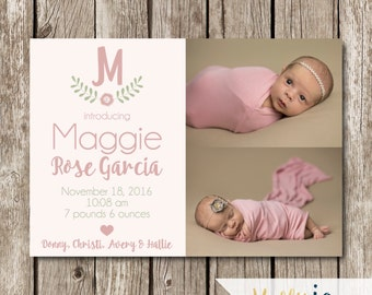 Girl Birth Announcement - Modern Birth Announcement - Classic Birth Announcement - Photo Birth Announcement Card - Pink Birth Announcement