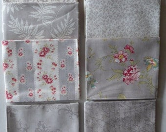 Poetry Floral by Moda Cotton Fabric, Fat Quarter Bundle of 8~Grp #4-Light Gray~Fast Shipping Fq683