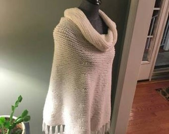 Hand knitted creamy white Cowl Neck Poncho