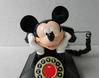 Talking Mickey Mouse Touch Tone Phone, Push Button Phone, Disney, Desk Phone, Collectible