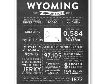 State Print, Wyoming State, Wyoming Map, State Art, State Poster, State Infographic, Gift For Brother, State Facts, Wyoming Art Print
