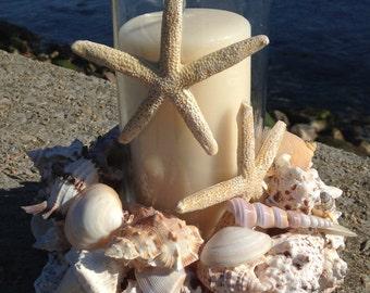 Shell Wreath With Candle - Nautical Centerpiece - Beach Decor - Shabby Chic Beach Decor (LSC009)