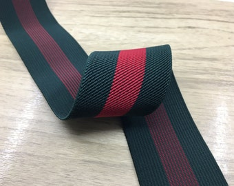 2 inch (50mm) Colored Red and Green Striped Twill Elastic, Waistband Elastic 22010