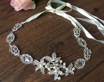 Silver Leaf Vine Diamante Bridal Headband Headpiece Bridal Vintage Wedding