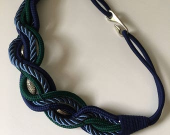 Braided satin cord belt 80's navy and emerald hook closure