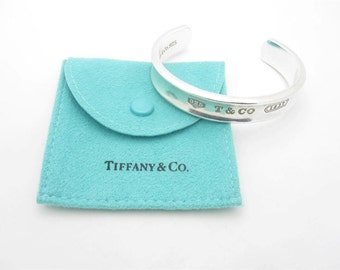 Tiffany & Co. Sterling Silver 1837 Oval Cuff 10mm Bracelet Small Size