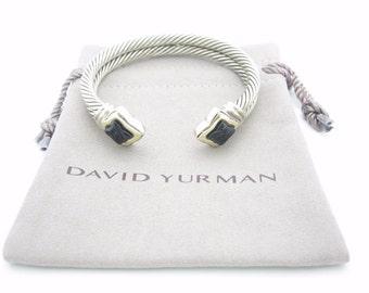 David Yurman Sterling Silver & 18k Gold Black Onyx Quatrefoil Double Cable Bracelet