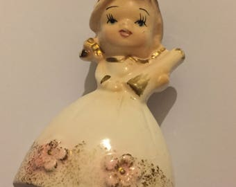 Vintage 1950s Kitsch Ceramic Lady Bell - Japan ware