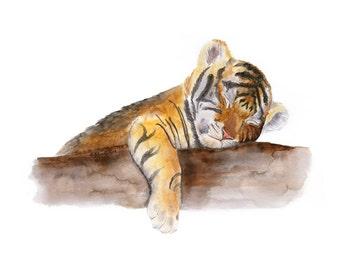 Tiger Animal Art, Jungle Nursery Art, Baby Tiger, Animal Nursery, Tiger Art Print, Jungle Watercolor, Bengal Tiger, Kids Wall Art 11x14