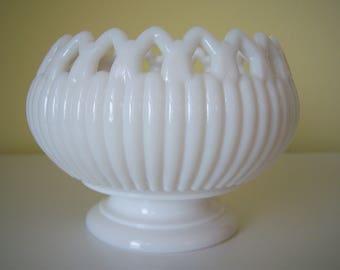 Lace Edge Milk Glass Pedestal Bowl