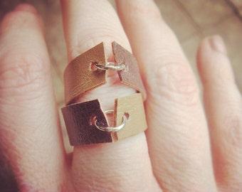 Faux Leather Ring - Boho Ring - Vegan Ring - Brown Leather Ring - Tan Leather Ring - Faux Leather Band - Minimalist Jewelry