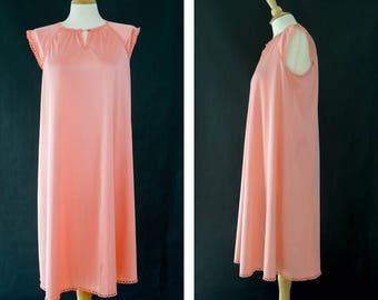 Vintage Slip Dress, Pink Coral Night Gown, 70s Pink Cap Sleeve Slip, Nylon Lace Lingerie, Midi Slip Dress, Medium, Large, Vintage Nightgown