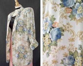 Vintage Women's Blazer Medium, Casual Blazer, Floral Boyfriend Blazer, 80s Oversized Jacket, Spring Jacket, Bohemian Festival Blazer, 1980s