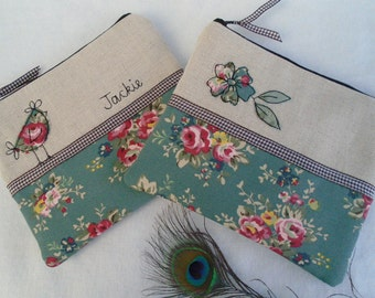 Handmade Small Cosmetic Makeup Bag or Purse with option to personalise, Choice of Hen or Flower Applique, Slate Blue Floral fabric