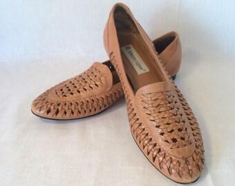 Vintage Etienne Aigner Woven Tan Brown Leather Flats Women's 7 1/2 M