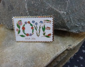 1980s LOVE 20 Cent USA Postage Stamp Vintage Pin