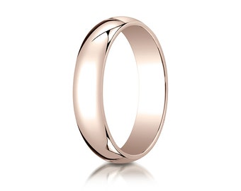 5MM Classic Domed 14K Rose Gold Ring Men's or Women's Plain Wedding Band with Custom Inside Engraving Promise Ring For Couples Plain