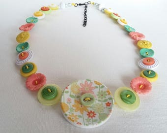 Button Necklace, Button Jewellery, Statement Necklace, Green Necklace, Yellow Necklace, Unique Necklace, Handmade Necklace, Quirky Necklace