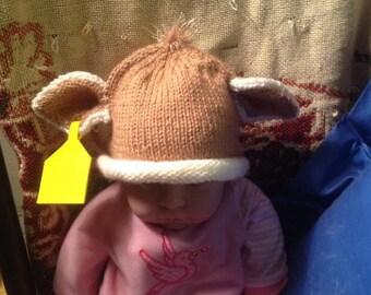 Knit Newborn Brown Swiss baby hat