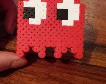 Red Pac-Man Style Ghost 3D Pixel Art Figure