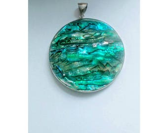 Large Abalone Shell Disc||Pendant||Ocean||Tahiti||Mermaid||Summer||Beach||Sterling Silver Snake Chain||Boho Necklace